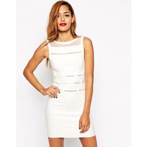 ASOS - Figurbetontes Kleid aus strukturiertem Strickstoff mit Netzeinsätzen - Weiß
