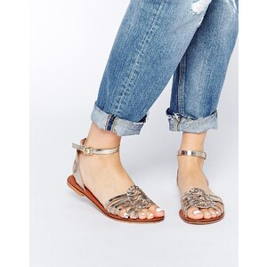 ASOS - FAITHFUL - Gewebte Ledersandalen - Gold