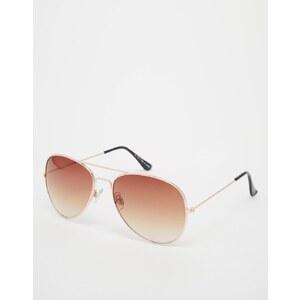 ASOS - Goldfarbene Pilotensonnenbrille - Gold
