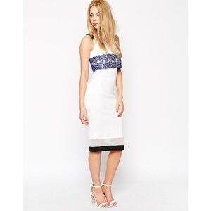 ASOS - Figurbetontes Kleid mit Neoprenbahnen - Uni