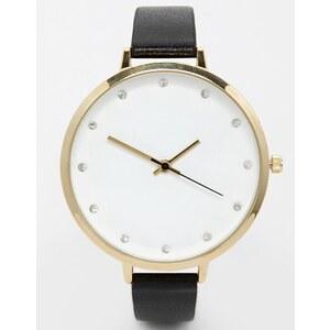 ASOS - Uhr mit großem, strassverziertem Zifferblatt - Schwarz