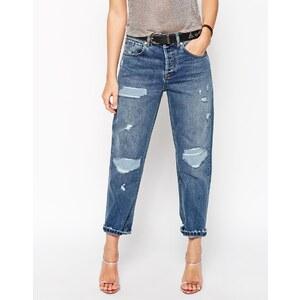 ASOS - Tief sitzende Boyfriend-Jeans mit geradem Beinschnitt, Rissen und Flicken - helle Stone-Washed-Optik