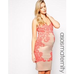 ASOS Maternity - Figurbetontes Kleid mit geflocktem Print - Hautfarben/Rosa