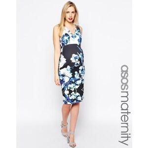 ASOS Maternity - Figurbetontes Kleid aus Neopren mit tiefem Ausschnitt und Blumenprint - Mehrfarbig