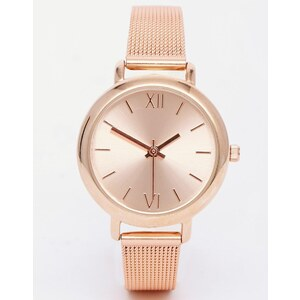 ASOS - Mittelgroße Armbanduhr mit Mesh-Armband - Rosévergoldete