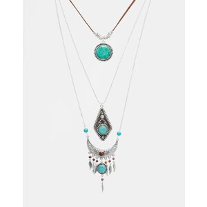 ASOS - Mehrreihige, kurze Halskette mit Halbedelsteinen - Mehrfarbig