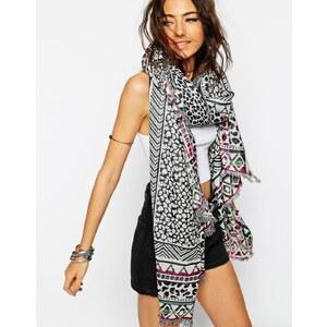 ASOS - Oversized-Schal aus Jacquard mit Leopardenprint - Mehrfarbig