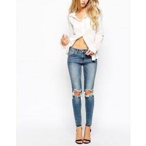 Vila Enge Jeans mit Zierrissen am Knie - Blau