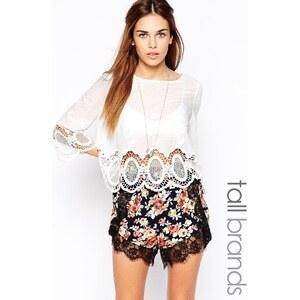 Glamorous Tall - Baumwoll-Bluse mit Häkelverzierung - Weiß