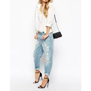 Vila - Boyfriend-Jeans im Used-Look - Blau