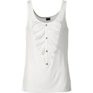 BODYFLIRT Top mit Volant in weiß für Damen von bonprix
