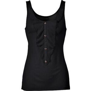 BODYFLIRT Top mit Volant in schwarz für Damen von bonprix