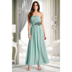 Little Mistress 30s Sage Floral Embellished Bandeau Maxi Dress in Mint