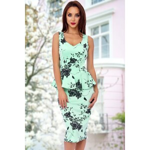Vintage Chic 50s Veronica Floral Peplum Dress in Mint Green