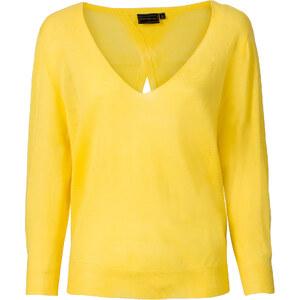 RAINBOW Pull léger jaune manches 3/4 femme - bonprix