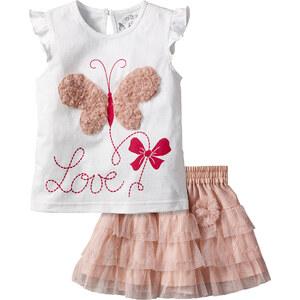 bpc bonprix collection T-shirt + jupe (Ens. 2 pces.) blanc manches courtes enfant - bonprix