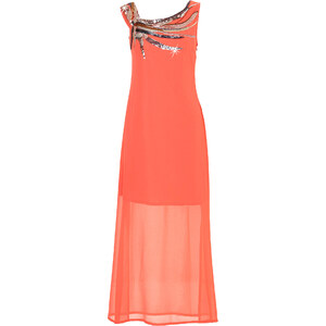 BODYFLIRT Robe à paillettes orange sans manches femme - bonprix