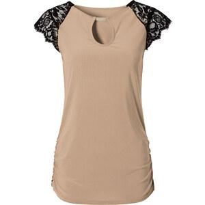 BODYFLIRT T-shirt beige manches courtes Près du corps femme - bonprix