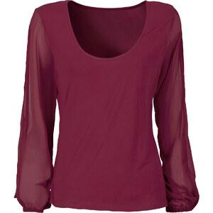 BODYFLIRT Top avec manches en voile de chiffon rouge femme - bonprix