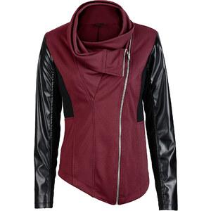 BODYFLIRT boutique Veste matière sweat rouge manches longues femme - bonprix