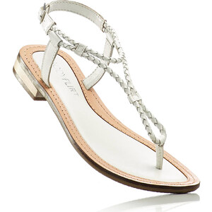 BODYFLIRT Les sandales en cuir blanc femme - bonprix