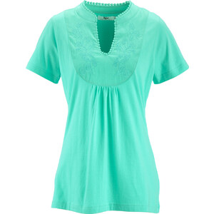 bpc bonprix collection T-shirt col en V mi-manches vert femme - bonprix