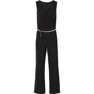 BODYFLIRT Combipantalon avec ceinture noir sans manches femme - bonprix