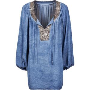 BODYFLIRT Blouse-tunique bleue manches longues femme - bonprix