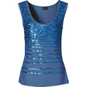 BODYFLIRT Top à paillettes bleu sans manches femme - bonprix