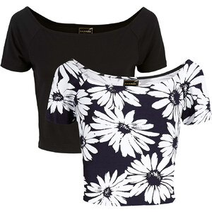 RAINBOW Lot de 2 T-shirts noir manches courtes femme - bonprix