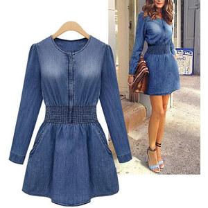 Lesara Damen-Jeans-Kleid mit Reißverschluss - XS