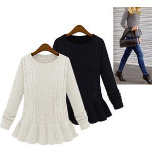 Lesara Strick-Pullover mit Rüschen - Schwarz - XS