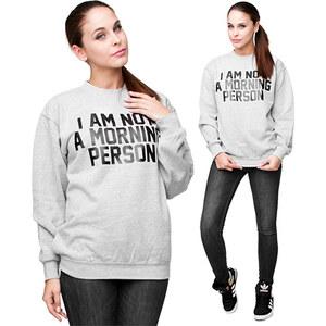 Lesara Sweatshirt I am not a morning person - Grau - L