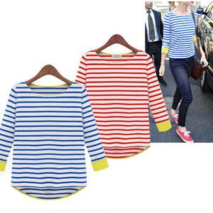 Lesara Langarmshirt mit Streifen - Blau - S