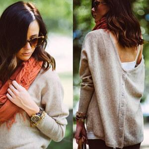 Lesara Damen-Longshirt mit Rücken-Ausschnitt - Beige - S