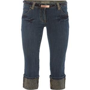 Lesara Capri-Jeans mit Gürtel - Blau - 38