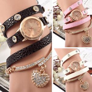 Lesara Leder-Wickel-Armbanduhr mit Herz-Anhänger - Rosa