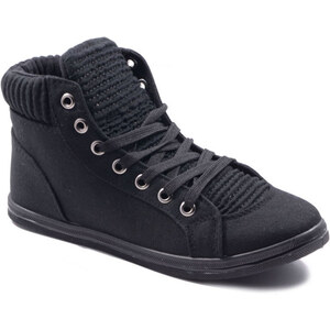 Lesara Damen-Sneaker mit gerafften Details - Schwarz - 36