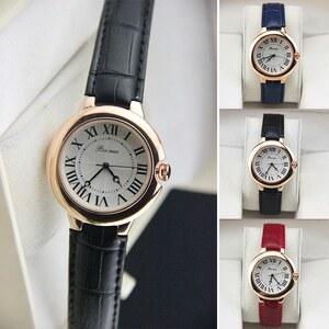 Lesara Damen-Leder-Armbanduhr mit goldfarbenem Rand - Rot