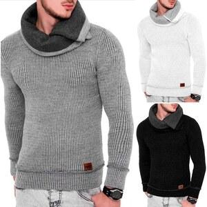 Lesara Strick-Pullover mit Schalkragen - Weiß - M
