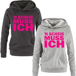 Lesara Damen-Sweatshirt ´N Scheiß muss ich - Grau-Pink - XL