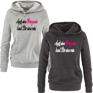 Lesara Damen-Sweatshirt Auch eine Prinzessin - Grau-Schwarz-Pink - L