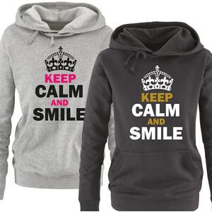 Lesara Damen-Hoodie Keep calm and smile - Schwarz-Weiß-Gold - S