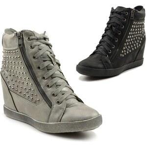 Lesara Keilabsatz-Sneaker mit Nieten-Aufsatz - Schwarz - 36