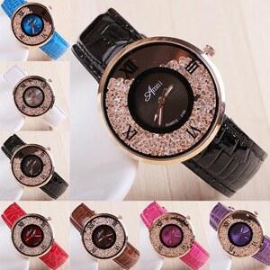 Lesara Leder-Armbanduhr mit Kristallen - Braun