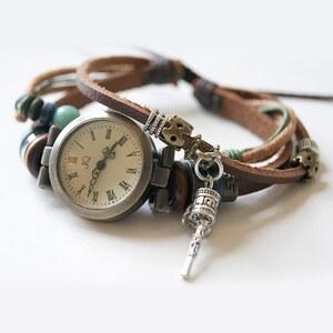 Lesara Mehrgliedrige Leder-Armbanduhr mit Schmuck-Elementen