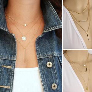 Lesara 3-gliedrige Halskette - Gold - Rund
