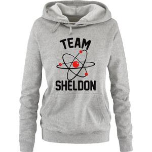 Lesara Damen-Hoodie Team Sheldon - Grau-Schwarz-Rot - S