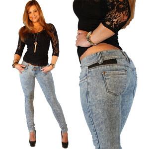 Lesara Damen-Jeans mit Kunstleder-Details - Blau - 32