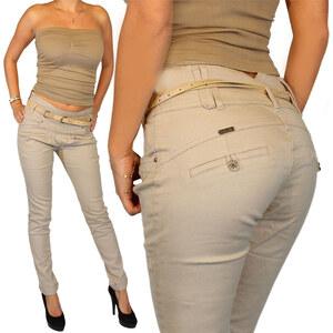 Lesara Damen-Chino-Hose mit Gürtel - Beige - 32